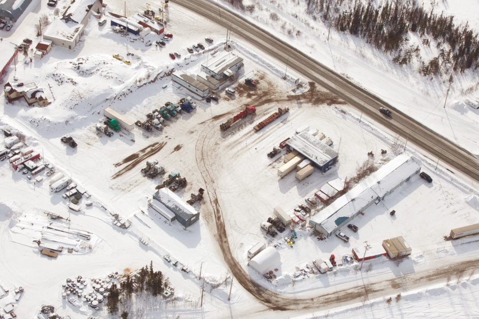 Aerial view of a northern worksite in winter.